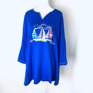 Quacker factory embellished sailboat blouse 3X